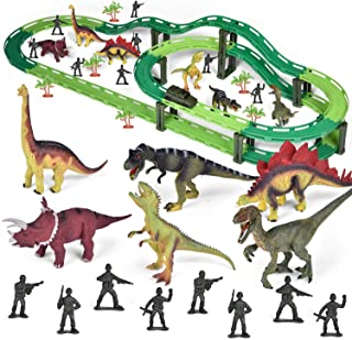 Dinosaur Train Set, Electric Cars Toy Set for Kids, Flexible Train Track Vehicle Playset with Dinosaur Actions Figures and Soldier