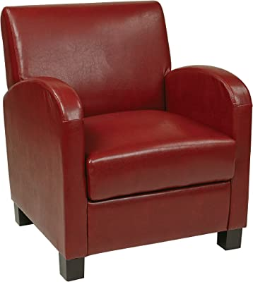 Office Star Metro Faux Leather Club Chair with Espresso Finish Legs, Crimson Red