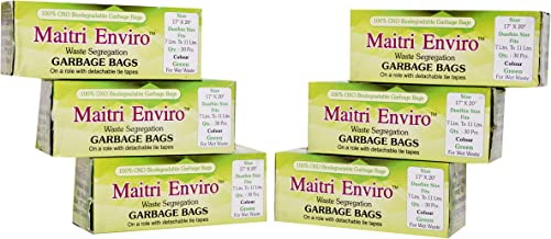 Maitri OXO Biodegradable Garbage Bags Roll (Medium) Size 17 inch x 20 inch 6 Rolls (180 Bags) (Green Colour)