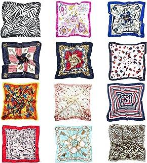 12 pcs Pañuelo de Seda Cuadrado para Mujer, Seda Cuadrado Bufanda Neck Head Hair Wraps (50 x 50cm)