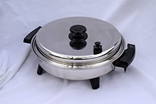"""HY CITE * ROYAL PRESTIGE * T304 Stainless Steel LIQUID CORE® 11 ½"""" inch ROUND OIL CORE ELECTRIC SKILLET FRYING FRY PAN * WATERLESS HEALTH COOKWARE – MADE IN USA * WEST BEND, WI"""