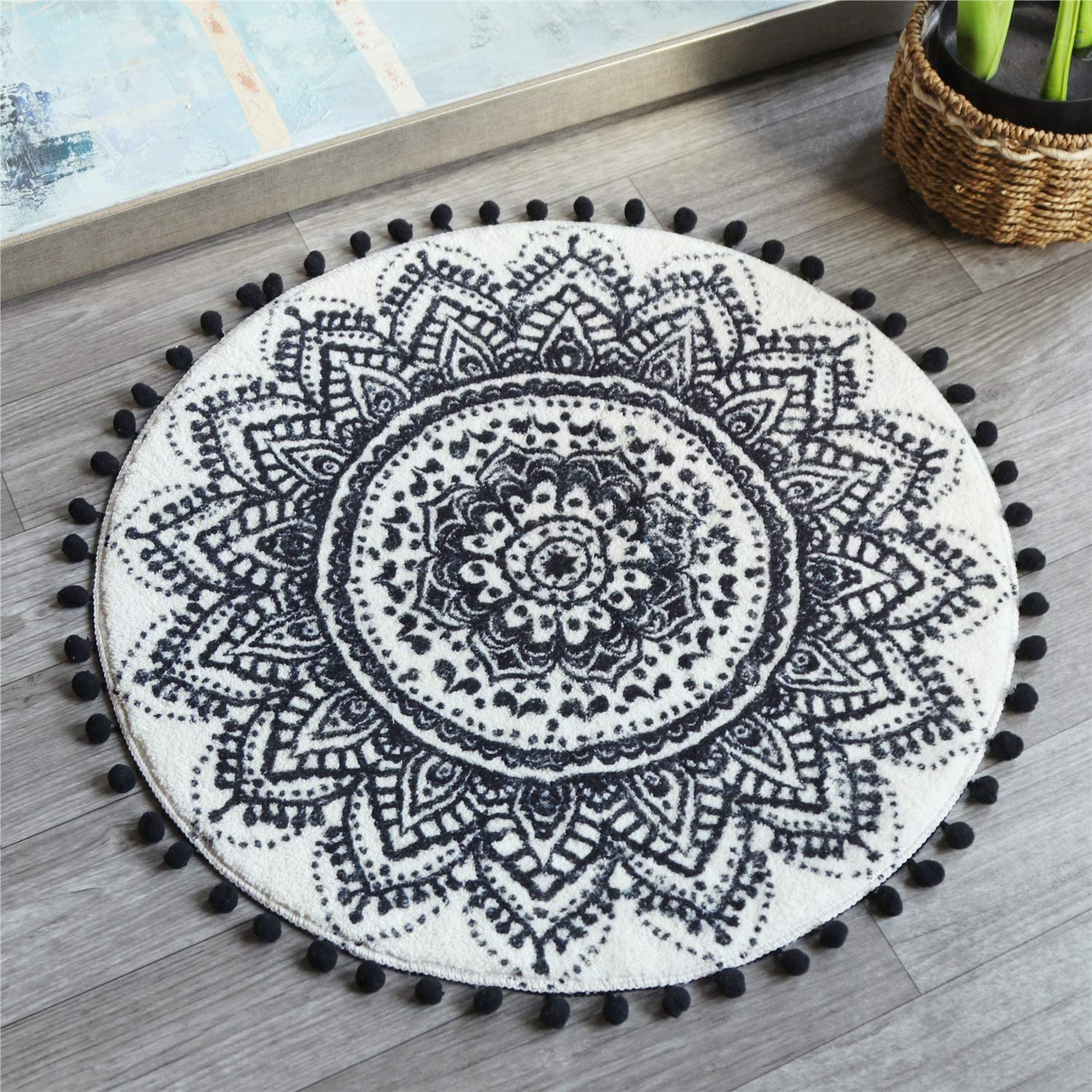 Buy Uphome 20ft Round Small Area Rug with Chic Pom Pom Fringe ...