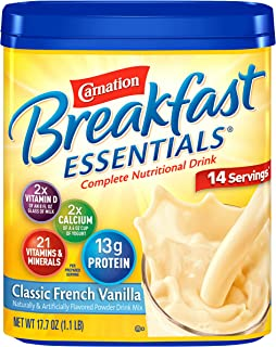 Carnation Breakfast Essentials Powder Drink Mix, Classic French Vanilla, 17.7 Ounce Jar (Pack of 6)