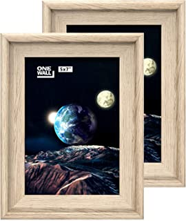 ONE WALL 5x7 Picture Frame Light Brown, PS Photo Frame for Wedding, Certificate, Family and Baby Pictures, Wall & Tabletop Display - Wall Mounting Hardware Included, 2 Pack