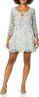 cupcakes and cashmere womens buttercup printed swiss dot chiffon dress Dress