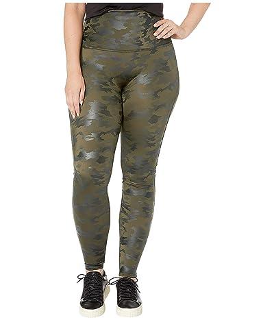 Spanx Plus Size Faux Leather Camo Leggings (Matte Olive Camo) Women