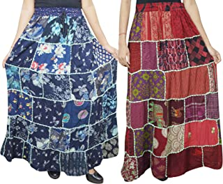 Mogul Interior 2pc Women's Maxi Skirt Patchwork Flare Gypsychic Printed Bohemian Long Skirts S/M