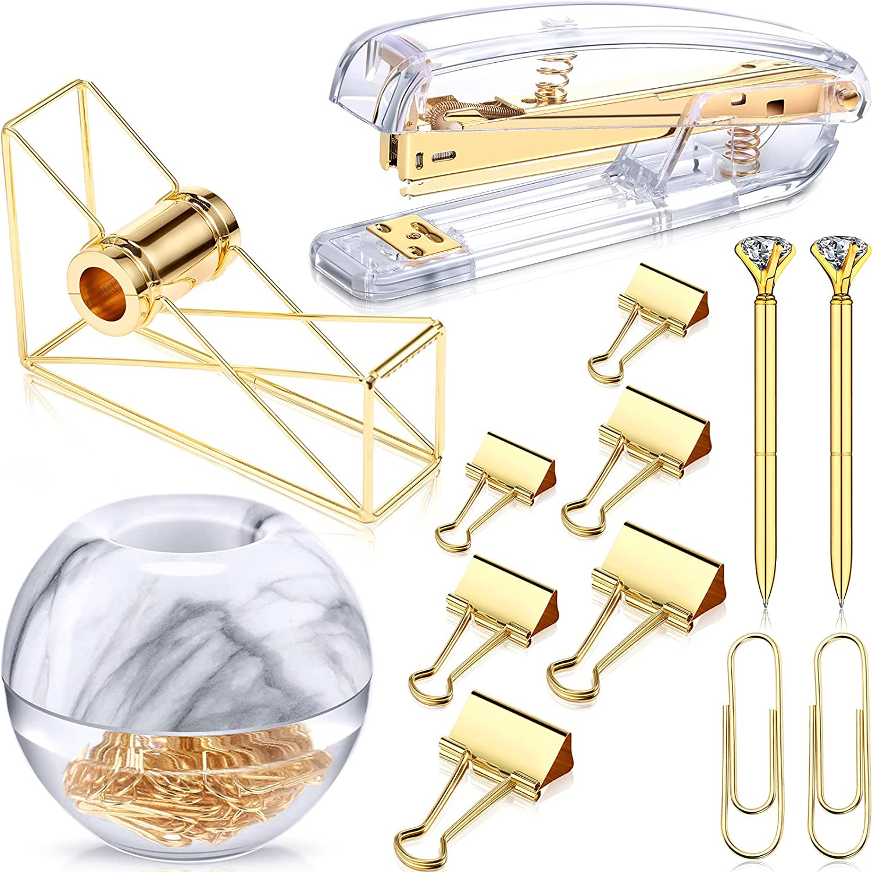 Desk Accessory Kit Set of Desktop Stapler Tape Dispenser Clips Clip Holder 2 Diamond Ballpoint Pens and 6 Blinder Clips for School Office Stationery Desk Home Supplies (Gold with Marble Pattern)