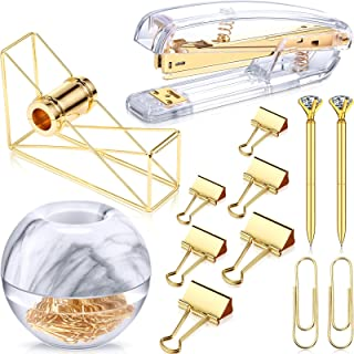 Desk Accessory Kit Set of Desktop Stapler Tape Dispenser Clips Clip Holder 2 Diamond Ballpoint Pens and 6 Blinder Clips fo...