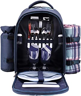 APOLLO WALKER Picnic Backpack Bag for 2 Person with Cooler Compartment, Detachable Bottle/Wine Holder, Fleece Blanket, Pla...