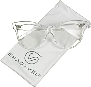 ShadyVEU - Vintage Cat Eye Oversize Clear Lens Fashion...