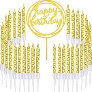 50 Pièces Bougies de Gâteau en Spirale d'or et Joyeux Anniversaire Gâteau pour Fourniture de Décoration de Gâteaux, 51 Piè...