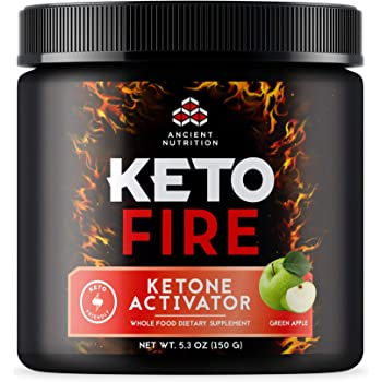 Ancient Nutrition KetoFIRE Powder, Keto Supplement with BHB Salts as Exogenous Ketones, MCTs from Coconut, Caffeine, and Electrolytes, Ketone Activator, Green Apple Flavor, 10 Servings…