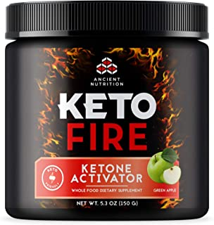 Ancient Nutrition KetoFIRE Powder, Keto Supplement with BHB Salts as Exogenous Ketones, MCTs from Coconut, Caffeine, and E...