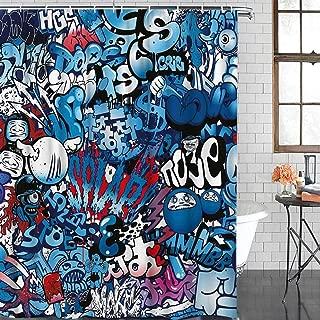 Durable Polyester Fabric Shower Curtains for Bathroom Standard 72'' x 72'' Modern Street Wall Graffiti Graphic Artwork Waterproof Bathtub Curtains Set with Hooks