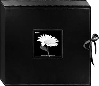 Pioneer 12 Inch by 12 Inch D-Ring Sewn Leatherette Scrapbook Box, Black