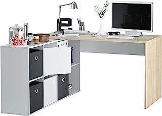 comprar comparacion Habitdesign - Mesa Escritorio, Mesa despacho Reversible, Estudio Modelo Adapta XL, Medidas: (Roble Canadian y Blanco Artik)