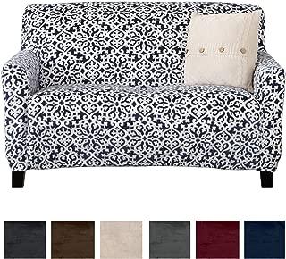 Great Bay Home Modern Velvet Plush Love Seat Slipcover. Strapless Loveseat Cover, Stretch Slipcover for Loveseat, Soft Love Seat Cover for Living Room. (Love Seat, Dark Denim Blue - Snowflake)