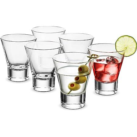 Bormioli Rocco 6-Pack YPSILON Cocktail Glasses set - 8.5 Ounce, Bar Glass, Stemless Martini Glasses for All Alcoholic Beverages like Margarita, Manhattans, Bourbon, Vodka, Gin, Lead-Free Whiskey Glass
