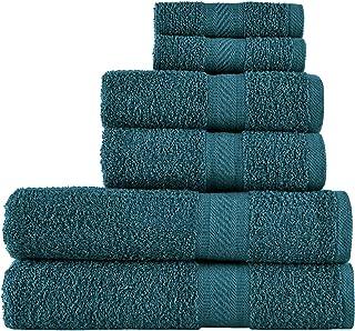 Sweet Needle - Ensemble de 6 serviettes à usage quotidien, Sarcelle - 2 serviettes de bain 70x140 cm, 2 serviettes de toil...