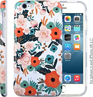 iPhone 6S Case for Girls, Cute 6S Case, Dimaka Floral Pattern Double Layer Protective Case with Fancy Glossy Surface for iPhone 6 and 6S 4.7