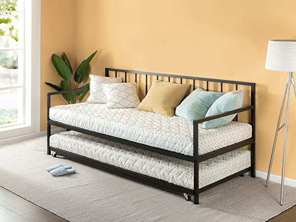 Zinus Eden Twin Daybed And Trundle Set Premium Steel Slat Support Daybed And Roll Out Trundle Accommodate Twin Size Mattresses Sold Separately