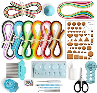 JUYA Paper Quilling Kits with 960 Strips and 13 Tools (Blue Tools, Width 3mm Have Glue)