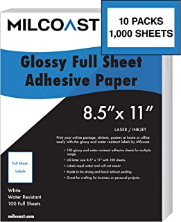 """Milcoast Full Sheet 8.5"""" x 11"""" Shipping Sticker Paper Adhesive Labels Glossy Water Resistant for Laser or Inkjet Printer (..."""