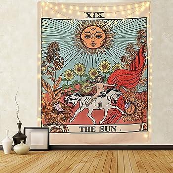 """Tapiz de pared de Tarot Mazheny, con la luna, estrellas y el sol, para colgar en la pared, decoración para dormitorio u hogar, para agregar misterio a un ambiente, adivinación de la Europa medieval, El Sol, 51""""×59"""""""