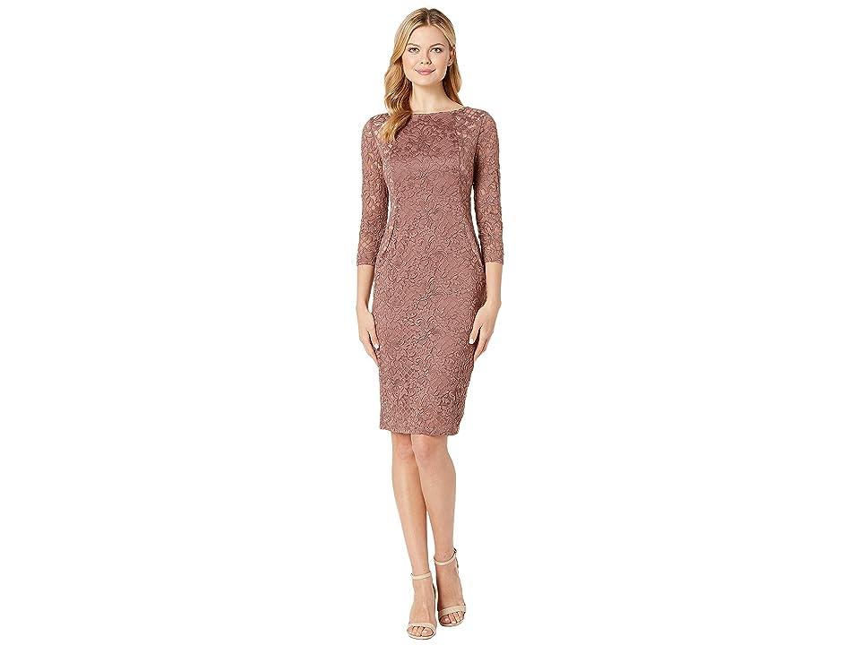 MARINA Short Slim Long Sleeve Dress with Illusion Side Panels (Cafe) Women