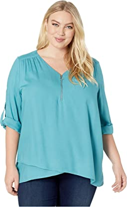 Plus Size Zip-Up Asymmetric Hem Top