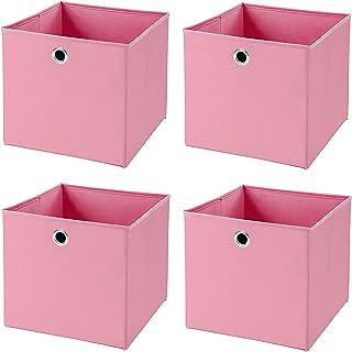 Onlyup Lot de 4 boîtes de rangement pliables en forme de cube pour bureau, chambre d'enfant, chambre à coucher, armoire (r...