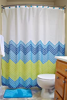 DII CAMZ33506 Bathroom Set, 14 Piece, Blue Chevron S/14 Count