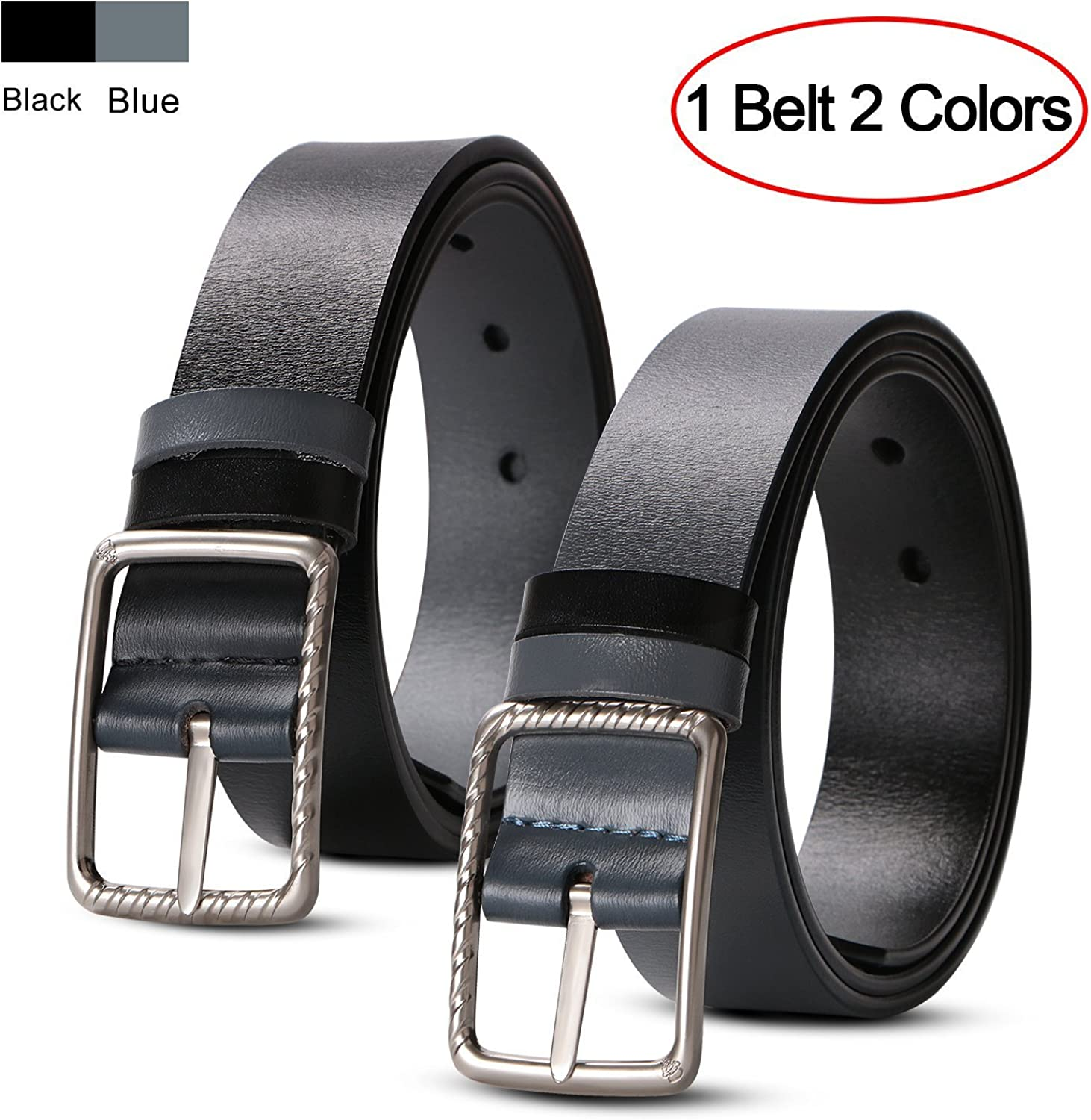 Men's Leather Belts Reversible Jeans Belts with Solid Buckle Gift Box