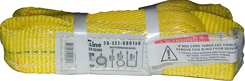 S-Line 20-EE1-9801X6 Lifting Sling 1-Ply, 1-Inch by 6-Foot, Flat Eye to Eye Sling