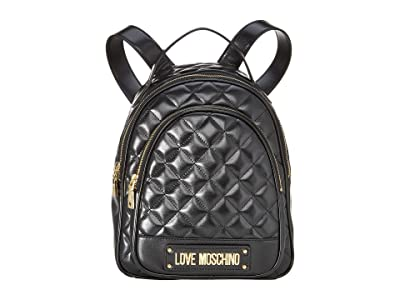 LOVE Moschino Shinny Quilted Backpack (Black) Backpack Bags
