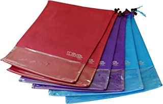 Shoe Bags (6-Pk) + SEE THROUGH WINDOW | Large | Keeps Dirt Out of Your Luggage (6-Piece Set, Teal Purple Burgundy)