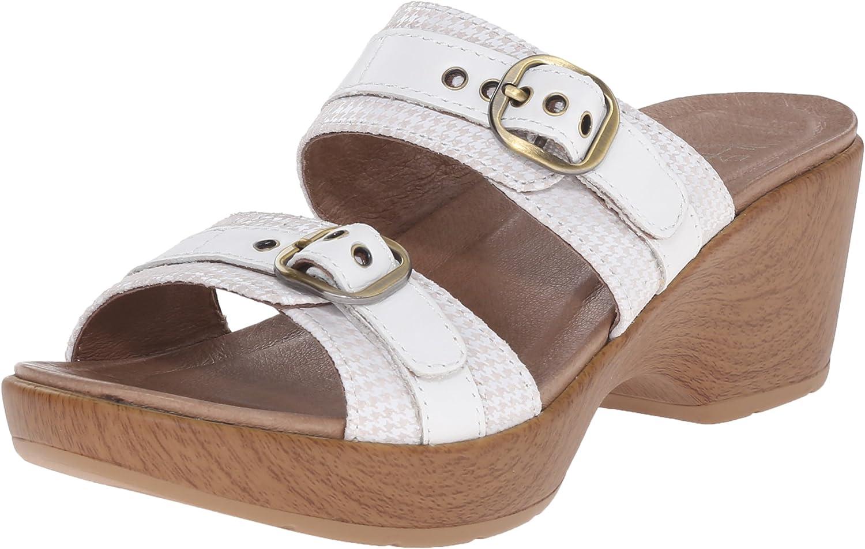 Dansko Women's Jessie White Multi Wedge Sandal