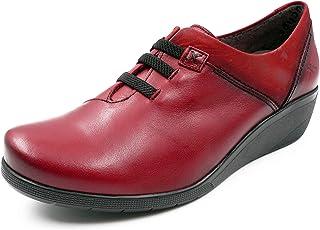 9ece50dc Zapato Mujer cómodo Abotinado FLUCHOS-Femme - Piel Color guinda, cuña 4 cm -