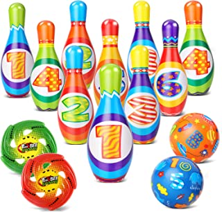 GEYIIE Kids Bowling Set Toy, Foam Bowling Pin, Indoor Outdoor Bowling Games for Children/Toddlers/Boys/Girls, Early Development Sport Educational Toy(10 Pins & 2 Balls & 2 UFO)
