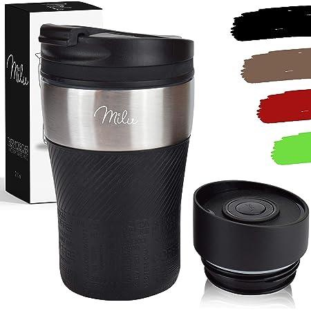 Milu Termo Taza 210ml - Vaso Termico de Viaje - Café para Llevar - Taza de Viaje - Taza de acero inoxidable para beber - con aislamiento de doble pared (Negro, 210ml)