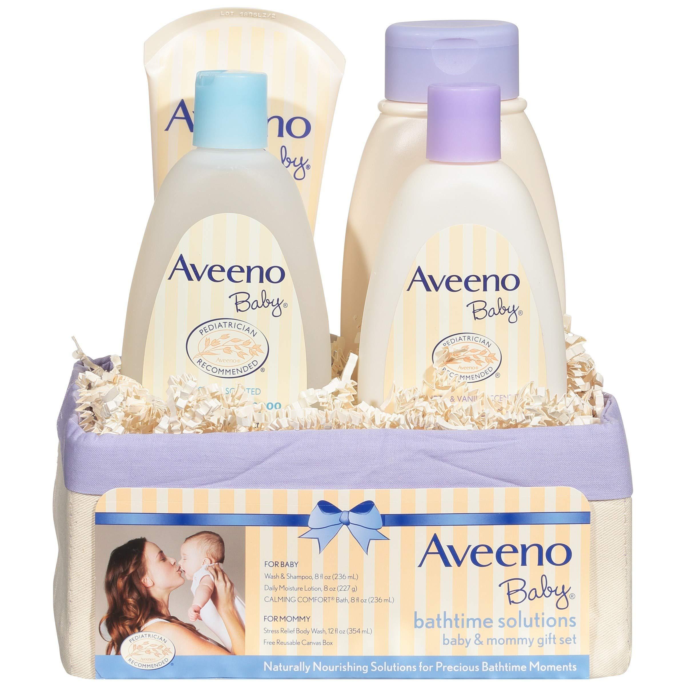 Aveeno Baby 日常洗澡解决方案礼品套装为宝宝和妈妈提供滋养皮肤,4 件商品