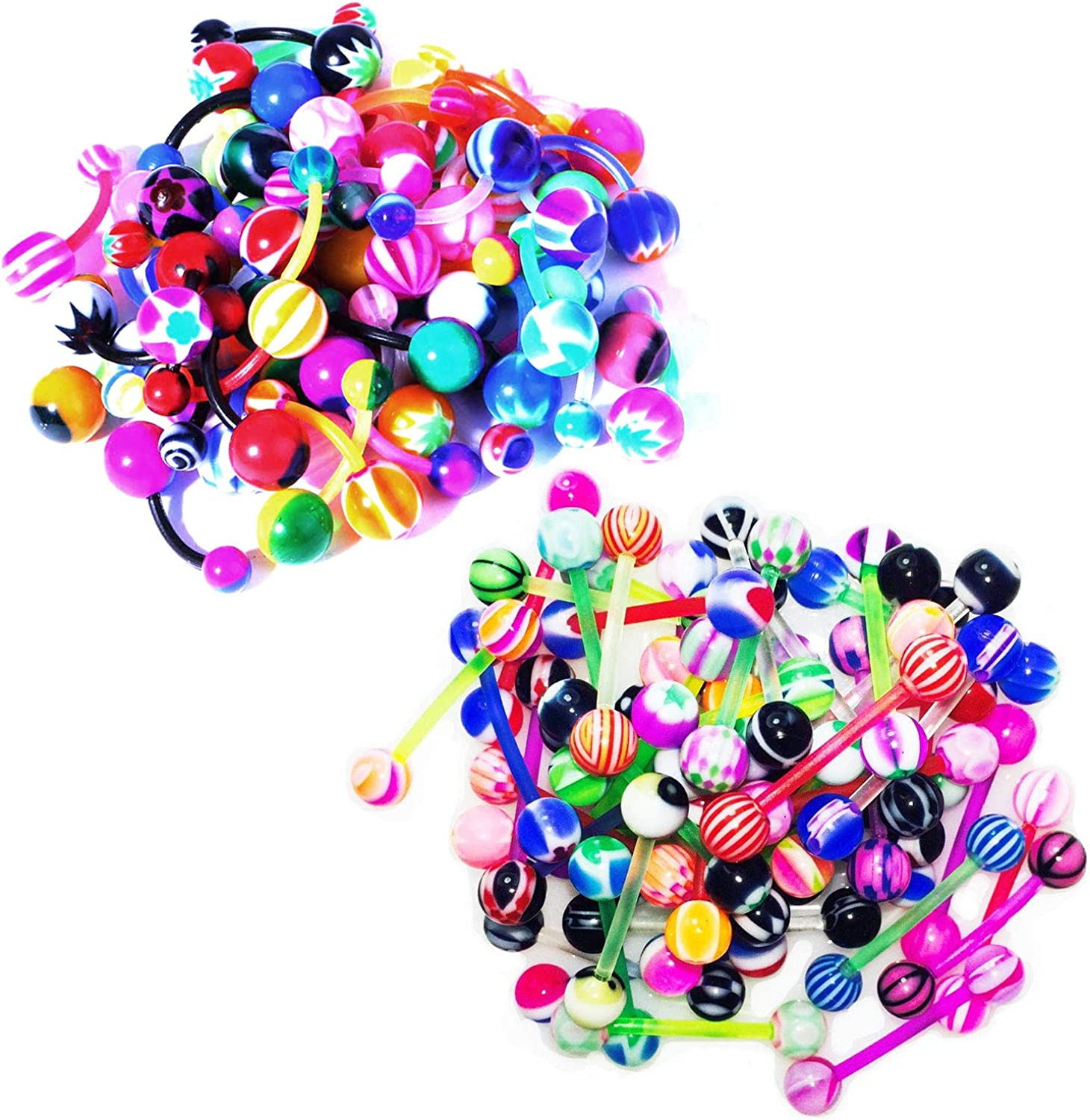 BodyJ4You 45PC Belly Ring Tongue Bioflex Flexible Barbell Bar 14G Acrylic Assorted Mix Body Jewelry