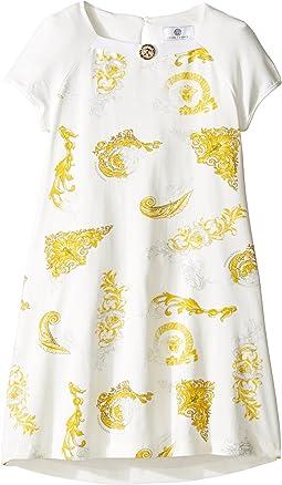 Versace Kids - Short Sleeve Dress w/ Medusa Barocco Print on Front (Big Kids)