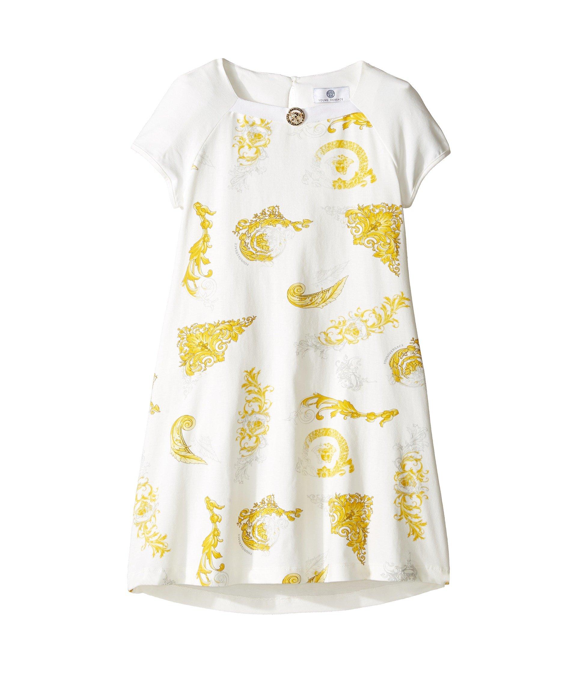 Vestido para Niña Versace Kids Short Sleeve Dress w/ Medusa Barocco Print on Front (Big Kids)  + Versace en VeoyCompro.net