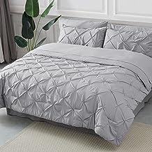 Bedsure Queen Comforter Set 8 Pieces - Pintuck Queen Bed Set, Bed in A Bag Grey Queen Size with Comforters, Sheets, Pillowcases & Shams