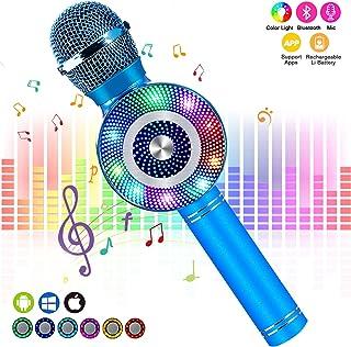 FISHOAKY Karaoke Microphone, Bluetooth Karaoke Machine Kids Portable Mic Player Speaker..