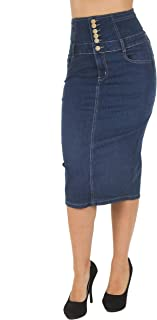 Women's Juniors High Waist Long/Knee Length Midi Pencil Denim Skirt