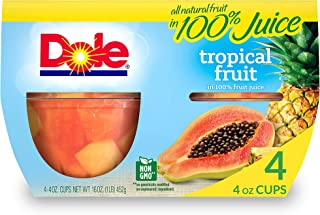 Dole Fruit Bowls, Tropical Fruit in 100% Fruit Juice, 4 Count, 4 Ounce Cups