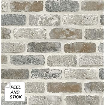 NextWall Washed Faux Brick Peel and Stick Wallpaper.